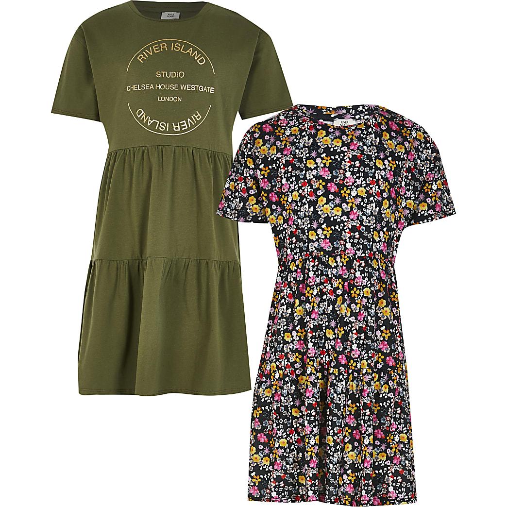 Girls khaki smock floral dress 2 pack