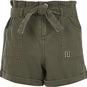 Girls khaki tie belted paperbag denim shorts