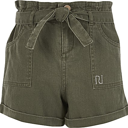 Girls khaki tie belted paperbag denim shorts