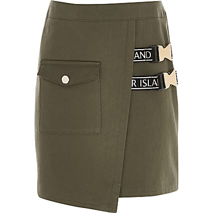 Girls khaki wrap clip buckle skirt
