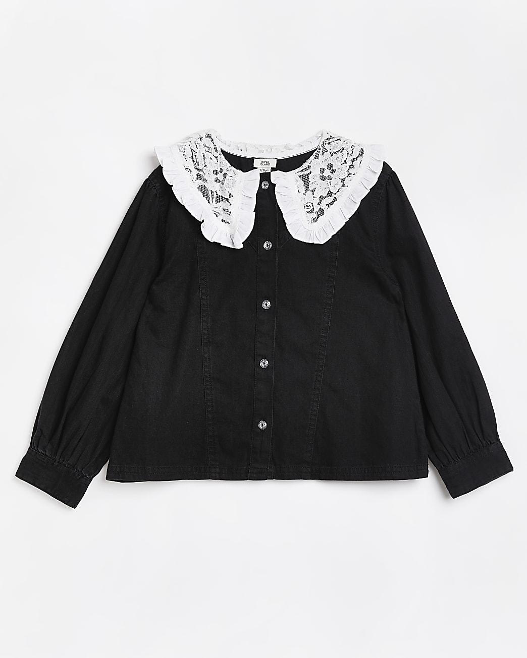 Girls lack lace collar shirt