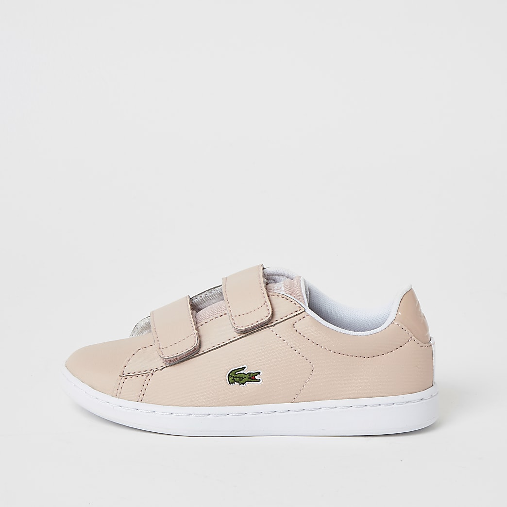 Girls Lacoste pink velcro trainers