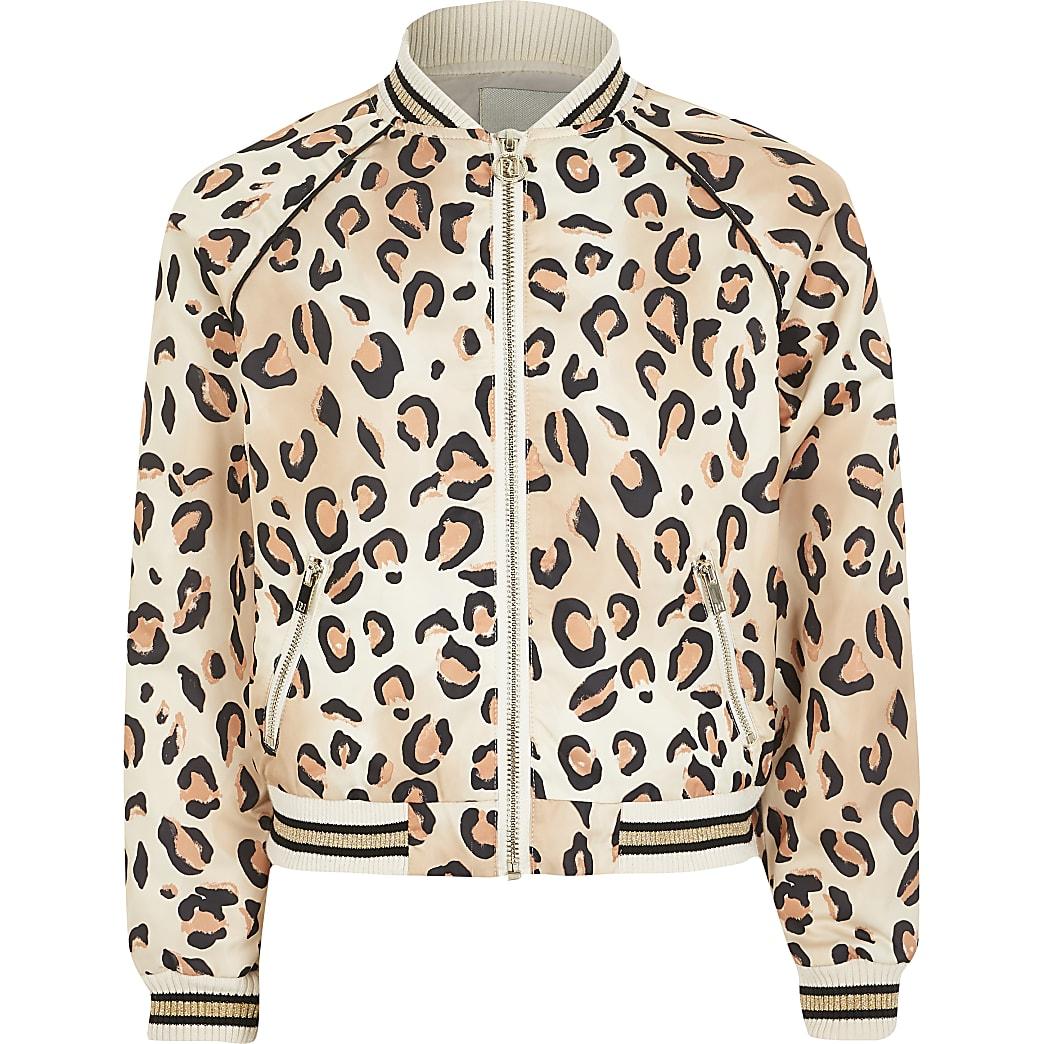 Girls leopard print bomber jacket