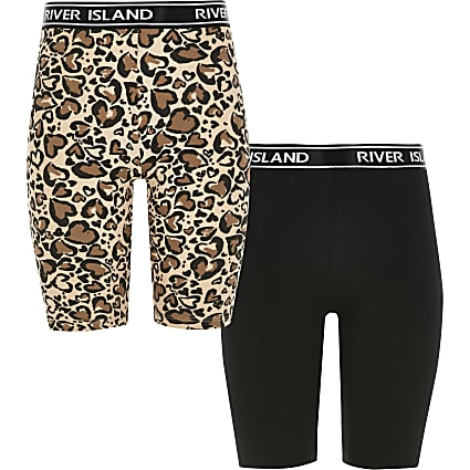 Girls leopard print cycling shorts 2 pack