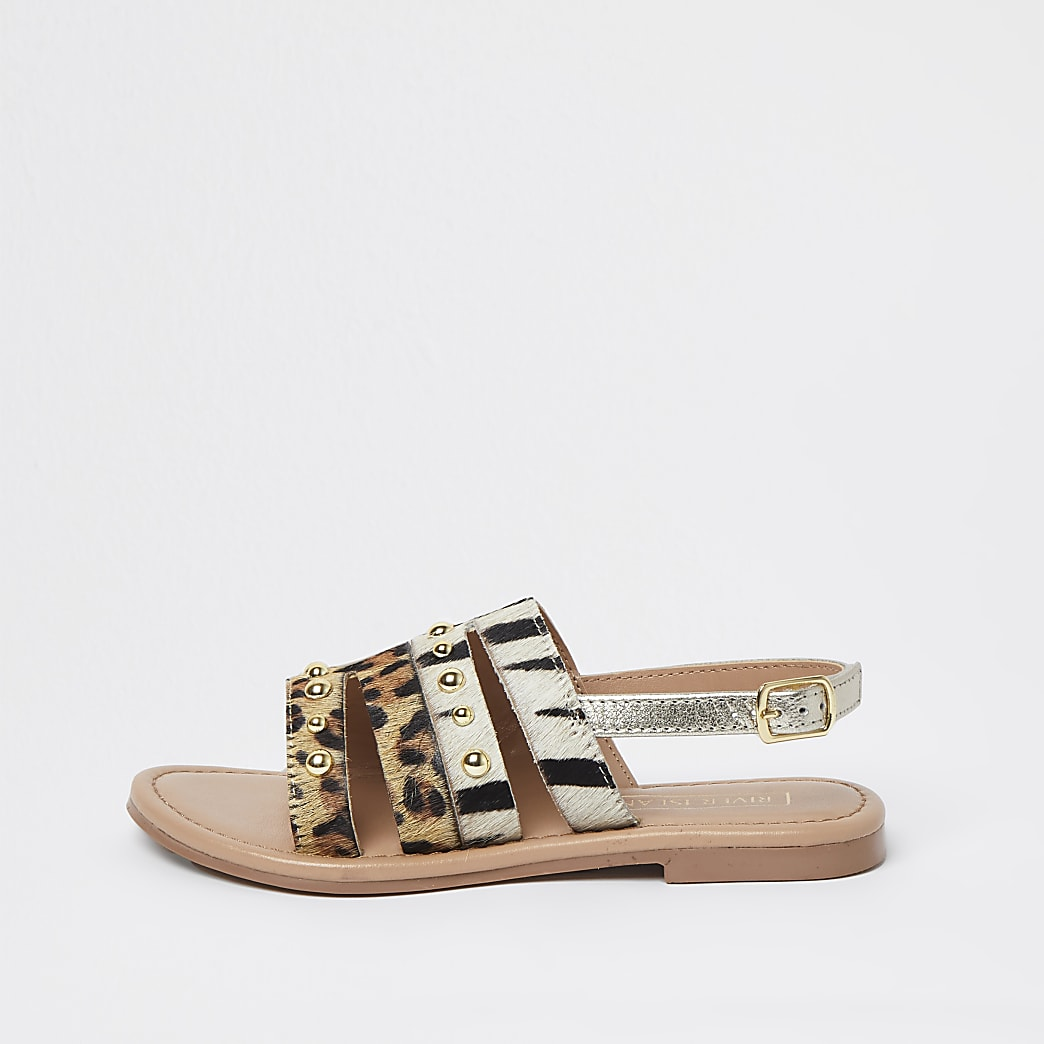 Girls leopard print stud flat sandal