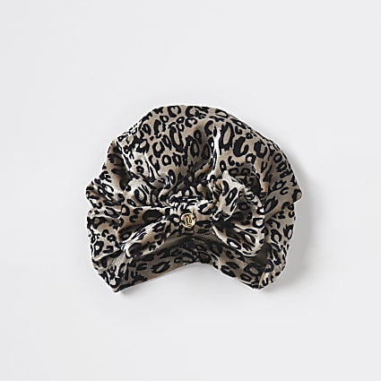 Girls leopard print turban