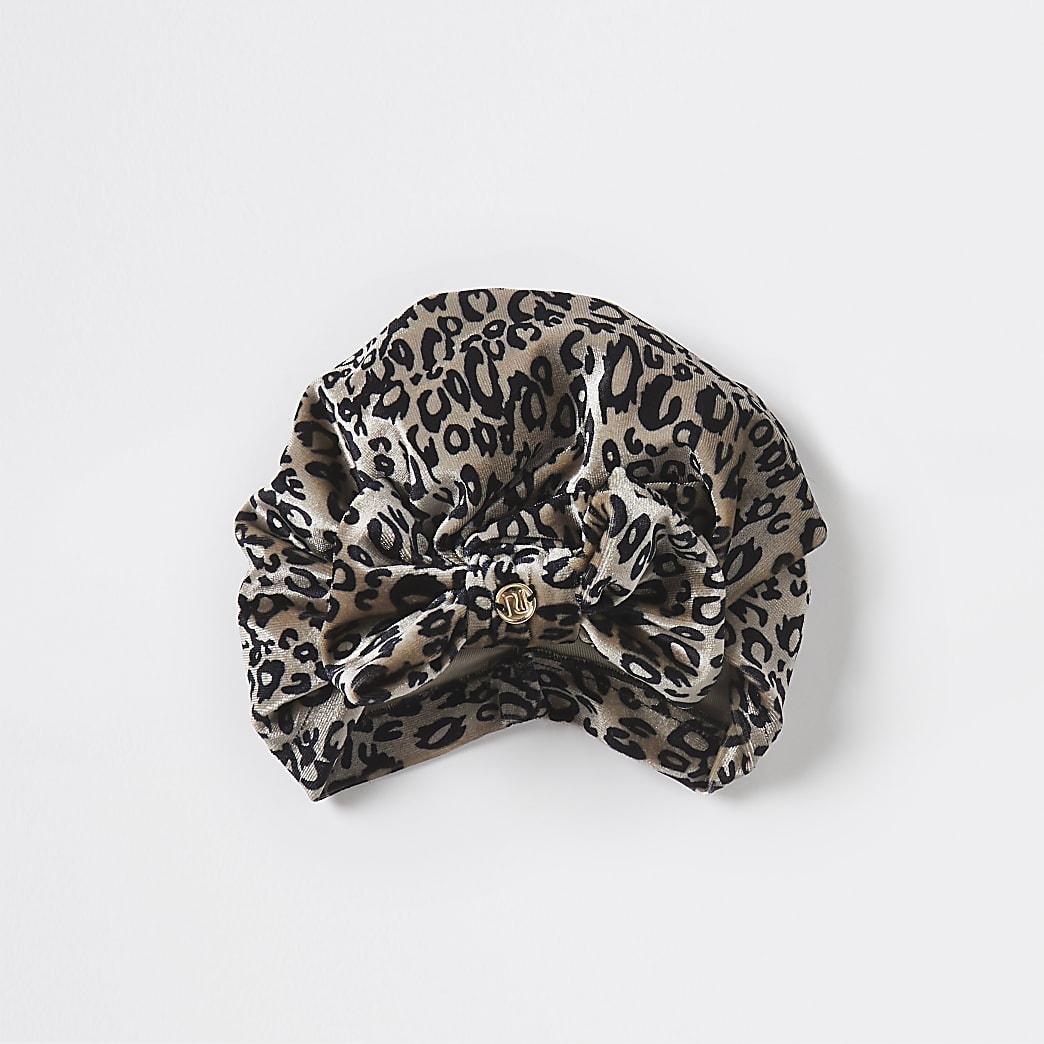 Girls leopard print turban