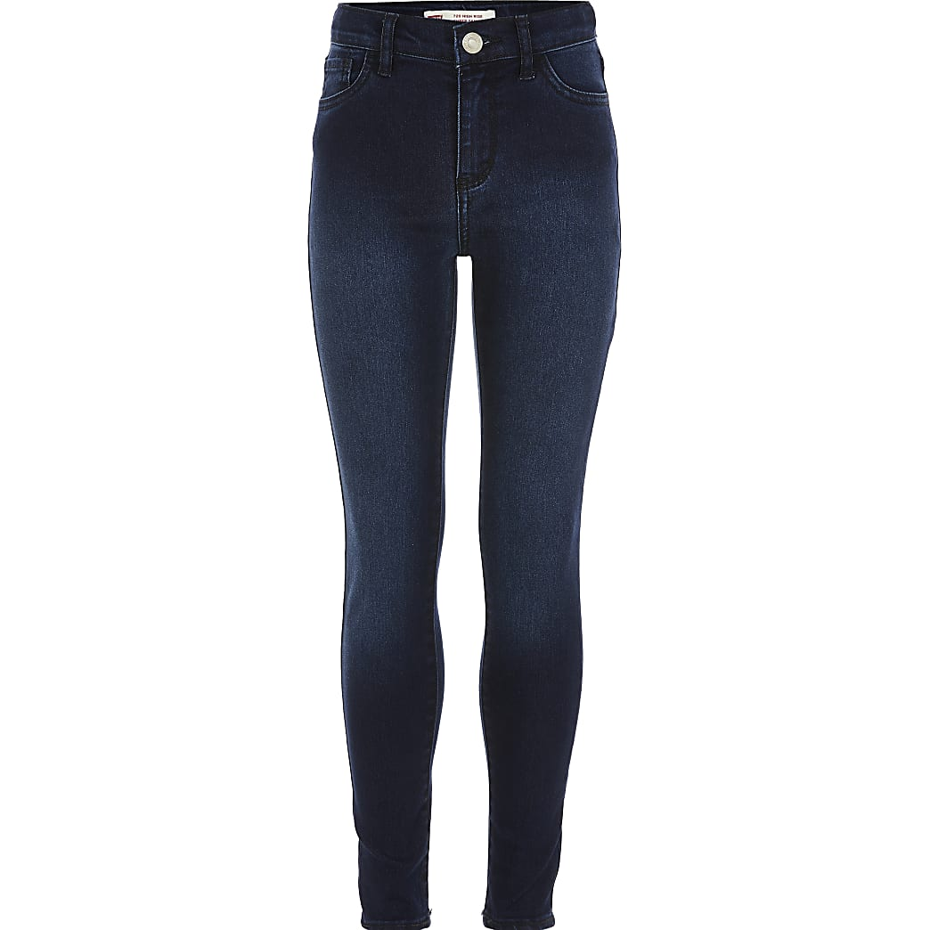 Girls Levi's dark blue super skinny jeans | River Island