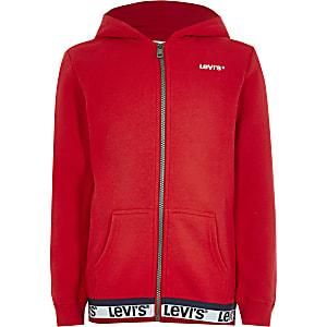 Levi's– Roter Hoodie mit Reißverschluss