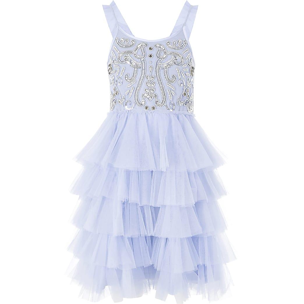 Girls Liberated Folk blue tutu sequin dress