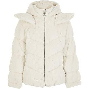 Liberated Folk - Crèmekleurige 'eenhoorn' teddy jas voor meisjes