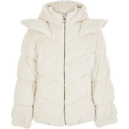 Girls Liberated Folk cream unicorn teddy coat