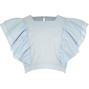 Haut en popeline avec manches à volants bleu clair pour fille