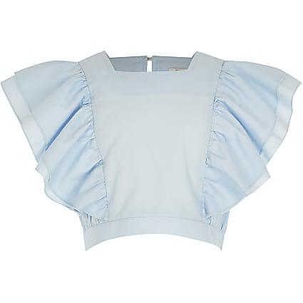 Girls light blue flutter sleeve poplin top