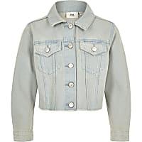 Girls light blue frayed hem denim jacket