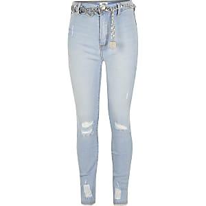 Lichtblauwe rippedKaia jeans met ceintuur voor meisjes
