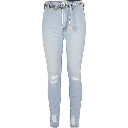 Girls light blue ripped Kaia belted jeans