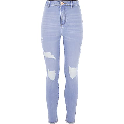 Girls light blue ripped Kaia jeggings