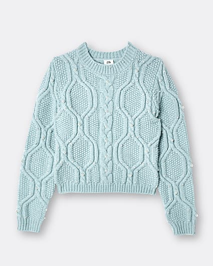 Girls light green pearl cable jumper