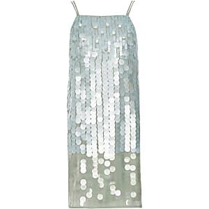Lichtgroene cami-jurk met pailletten voor meisjes