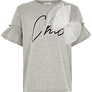 Lichtgrijs T-shirt met 'Chic'-print en strik voor meisjes