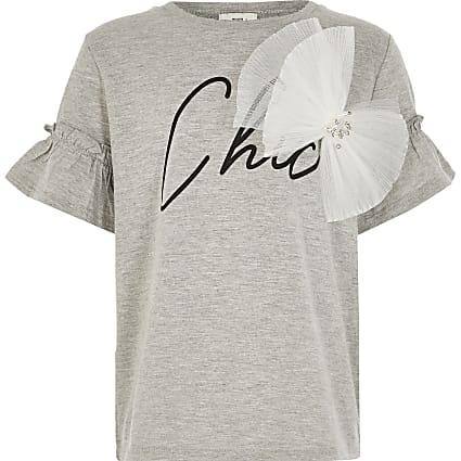 Girls light grey 'Chic' print bow T-shirt
