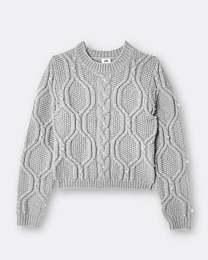 Girls light grey pearl cable jumper