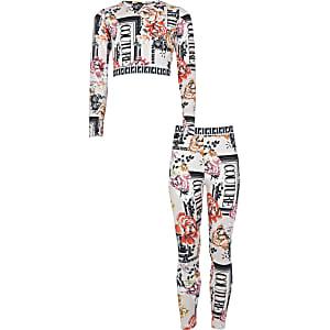 Lichtroze crop top outfit met 'Couture'-print voor meisjes
