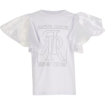Girls lilac diamante organza sleeve t-shirt