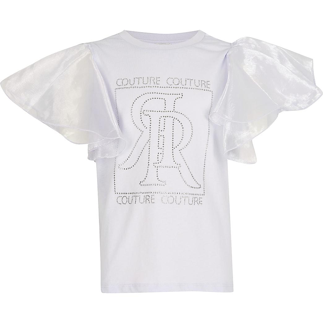 Girls lilac diamante organza sleeve t-shirt