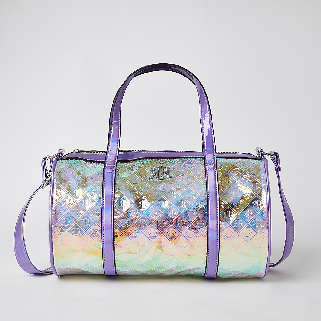 Girls lilac RIR embossed holographic holdall