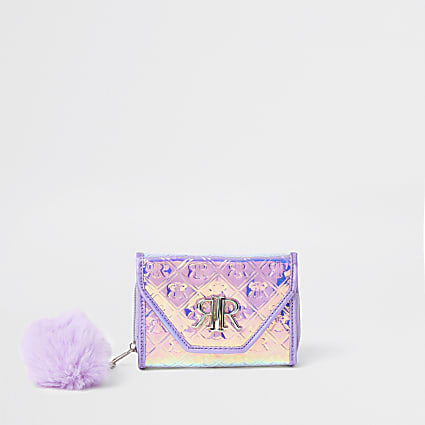 Girls lilac RIR embossed holographic purse