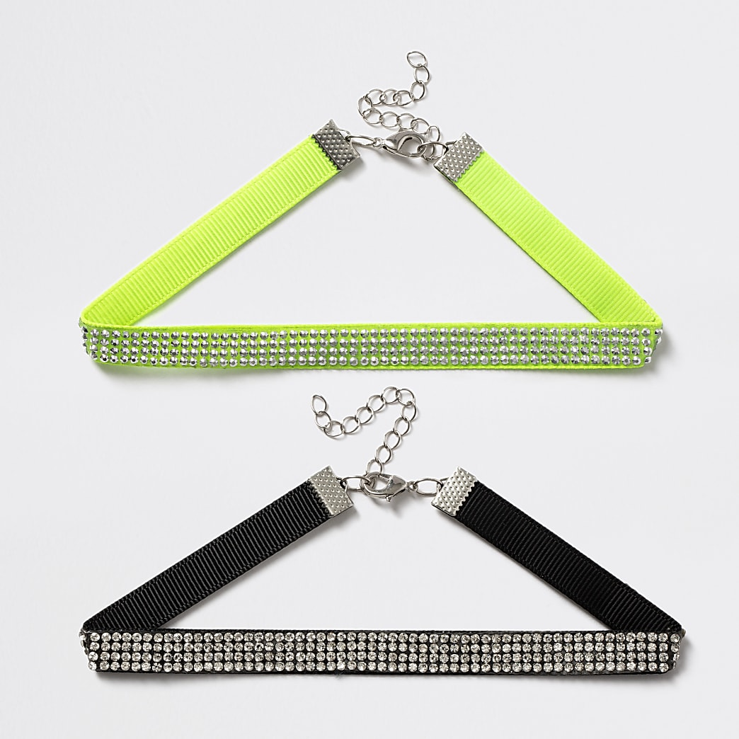 Girls lime and black diamante necklace 2 pack