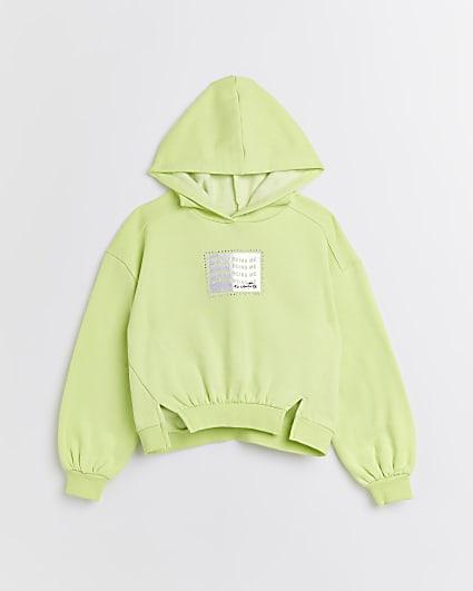 Girls lime green graphic split hem hoodie