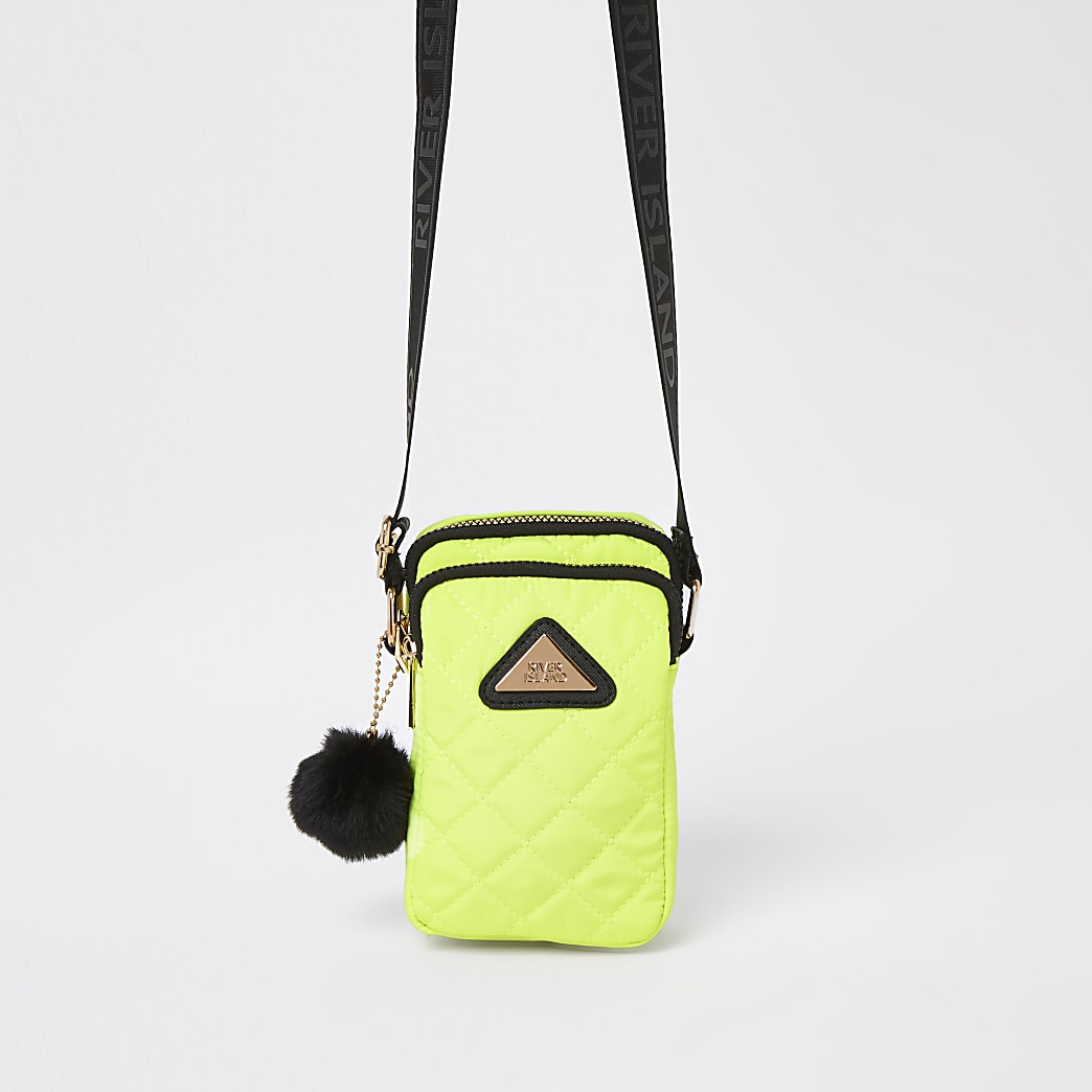 Girls lime quilted festival bag