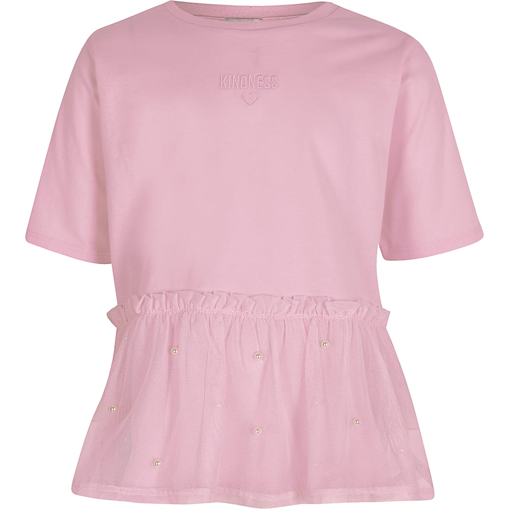 Girls mesh peplum mesh t-shirt