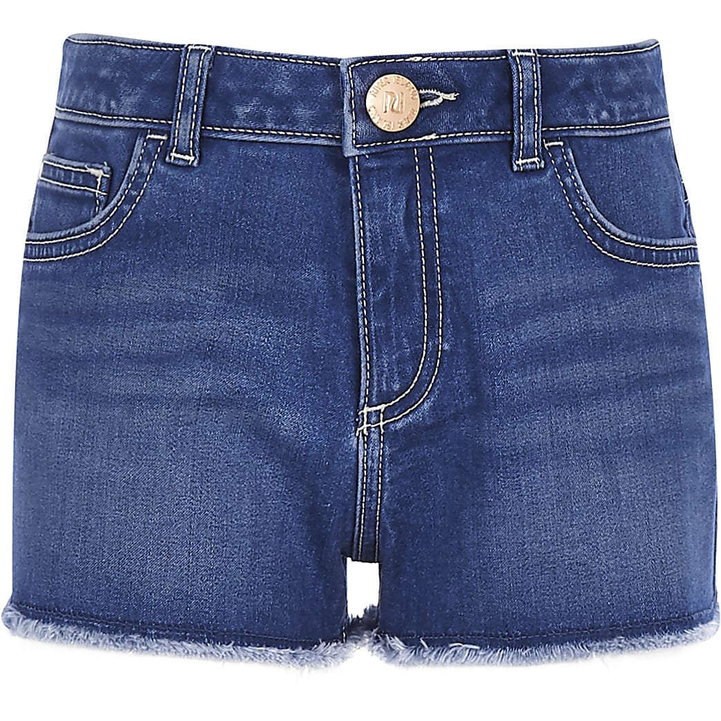 Girls mid blue Becca boyfriend denim shorts