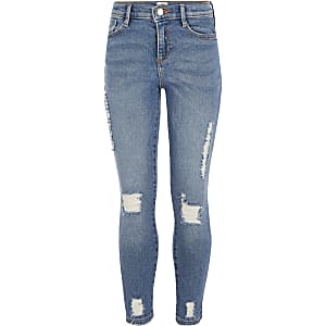 Girls mid blue ripped slim Amelie jeans