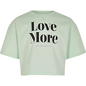 T-shirt court« love More » vert menthe pour fille