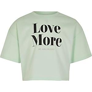 Muntgroen crop T-shirt met 'Love more'-tekst voor meisjes