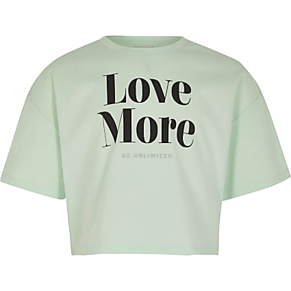 Girls mint green 'love More' crop t-shirt