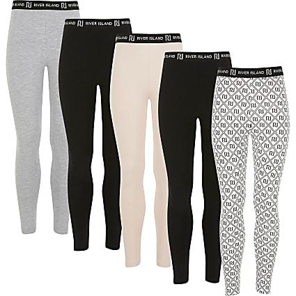 Girls mixed colour RI leggings 5 pack