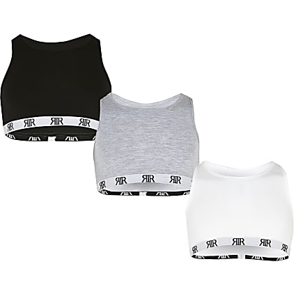 Girls multi racer crop top 3 pack