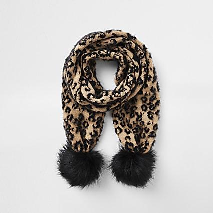 Girls natural leopard jacquard pom pom scarf