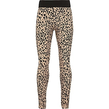 Girls natural leopard print leggings