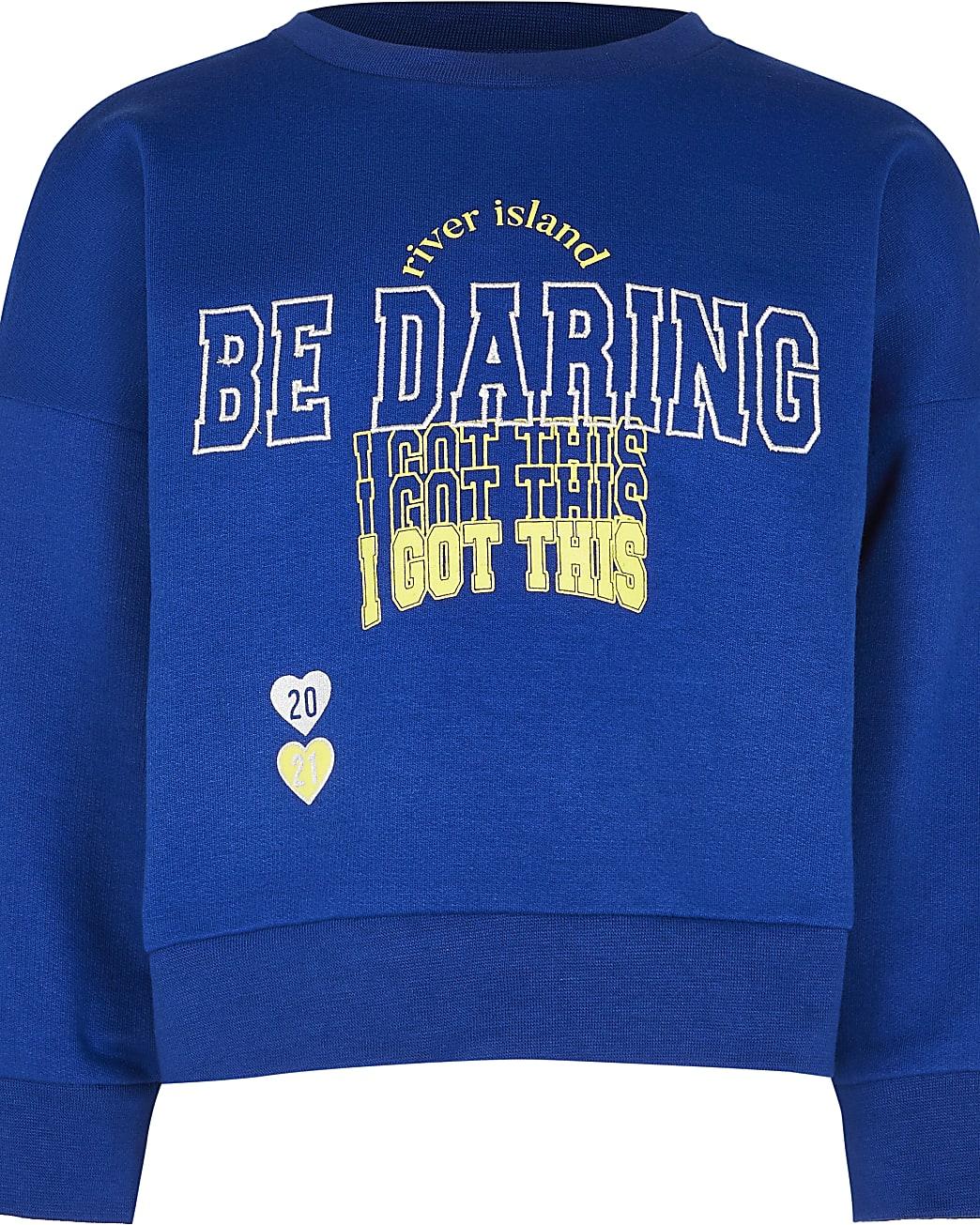 Girls navy 'Be daring' sweatshirt
