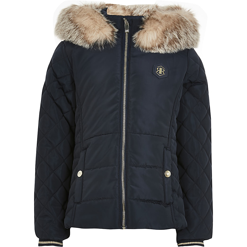 Girls navy matte padded jacket