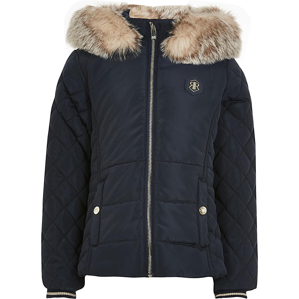 Girls navy matte padded jacket
