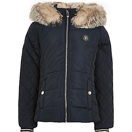 Girls navy matte puffer coat
