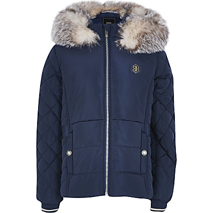 Girls navy padded coat